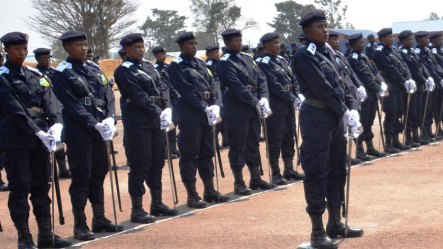 Some of the newly commissioned officer cadets parade at the pass-out event at Police Training School Gishari. / Courtesy.