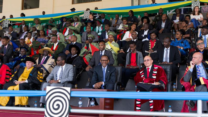 President Kagame and government and University of Rwanda officials during the varsity's third graduation ceremony at the Amahoro National Stadium in Kigali yesterday. / Village Urugwiro.