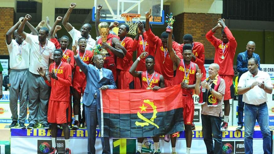 Angola U18 team celebrate after winning the 2016 FIBA U18 Africa Championship in Kigali last evening. / Courtesy.