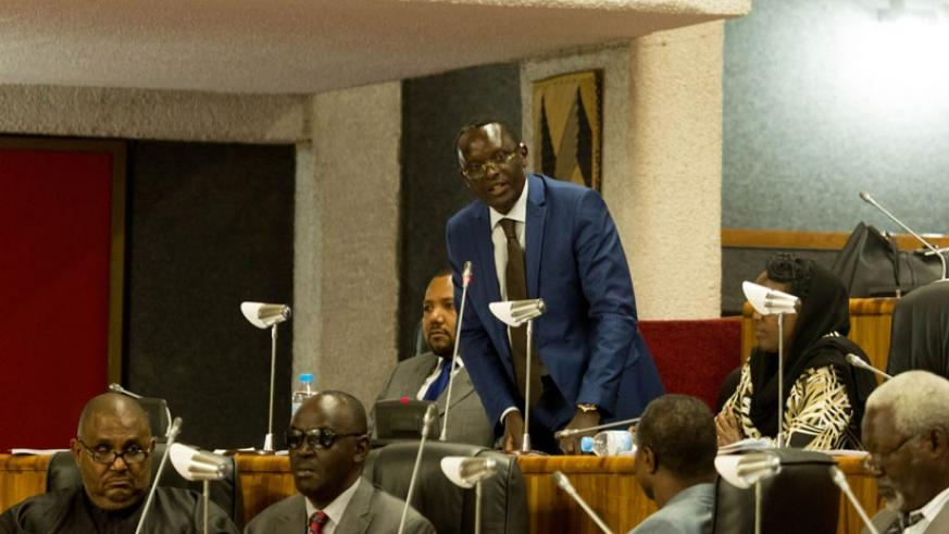 MP Ngoga speaks during an EALA session in Kigali last year. / File.