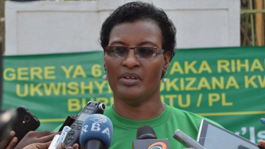 Mukabalisa speaks to the media after being elected new PL president on Sunday, in Kigali. (Courtesy)