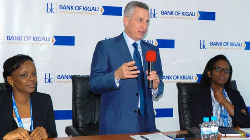 Mark Holtzman, the chairman board of governors of Bank of Kigali, addresses the media at the news conference yesterday. (Courtesy)
