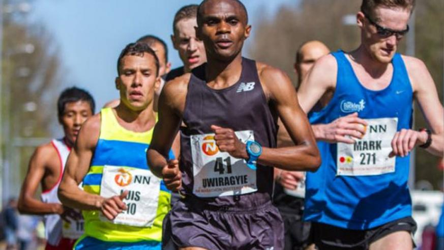 Uwiragiye (#41) during the NN Rotterdam marathon in which he qualified for Rio Olympics. (Courtesy)
