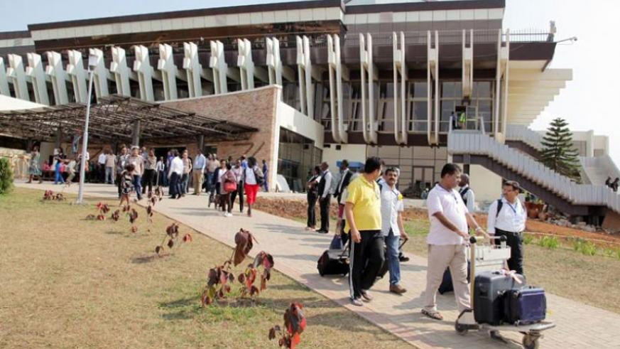 Passengers leave the arrivals section of Kigali International Airport. (File)