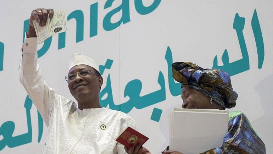 The Chairperson of the African Union, Chadian President Idris Deby and the AU Commission Chair, Nkosazana Dlamini-Zuma at the launch of the African Passport. / Courtesy.