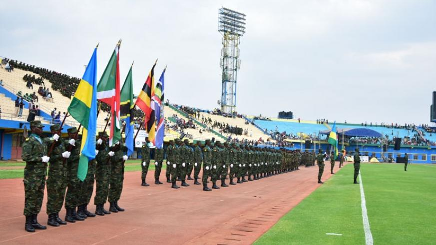 EAC military on parade before the start of the 10th Military Games and Culture event yesterday.