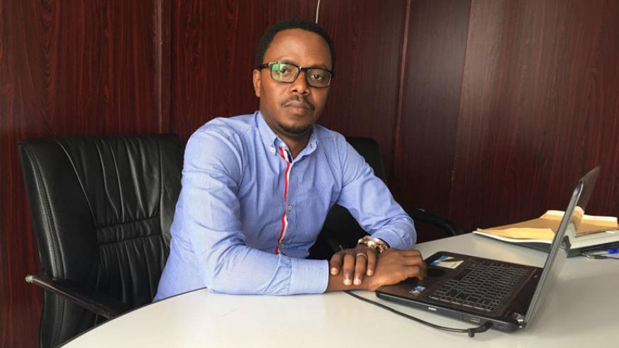 Gasana during the interview at his office in Remera, Kigali. / Faustin Niyigena.