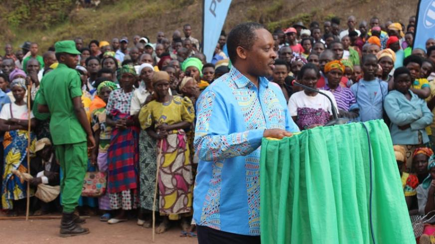 Prof. Shyaka addresses participants at the event on Wednesday in Gakenke District.  (Steven Muvunyi)
