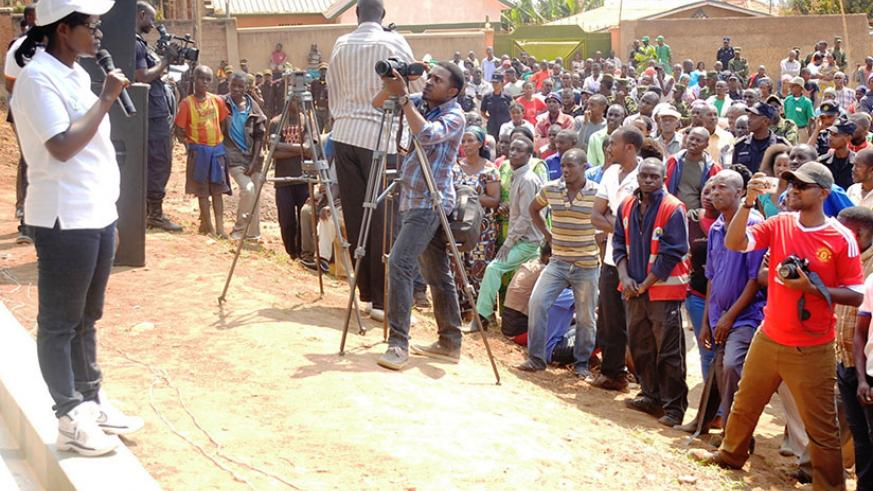 City of Kigali mayor Monique Mukaruliza addresses Rusororo residents after the special umuganda. / Courtesy.