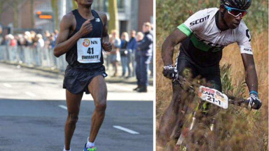 Ambroise Uwiragiye (L)during the NN Rotterdam marathon in which he qualified for Rio Olympics, and Nathan Byukusenge, seen here in action at the 2016 Absa Cape Epic, are upbeat ahe....