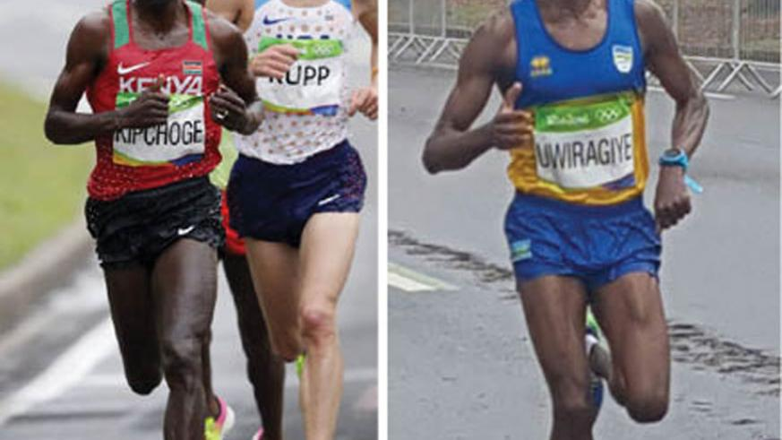 Rwanda's Uwiragiye (R) races in the Rio Olympics men's marathon on Sunday where he finished 99th in the race won by Kenya's Kipchoge  (L) ahead of Ethiopia's Lilesa  and Rupp o....