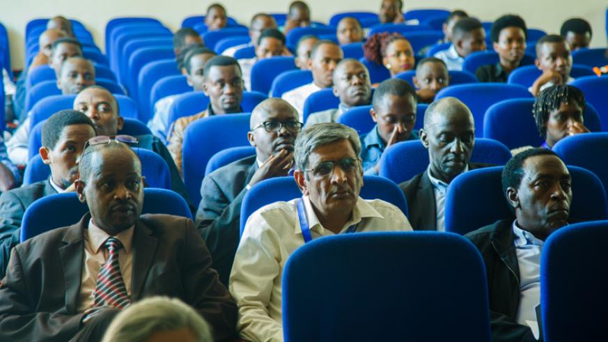 Participants at the opening of the second annual Research and Innovation Week in Science and Technology in Kigali on Tuesday. (Photos by Teddy Kamanzi)