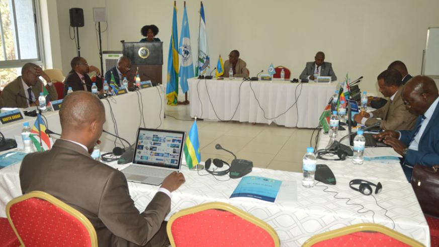 Heads of NCBs from EAPCCO during the meeting in Kigali, yesterday. (Courtesy.)
