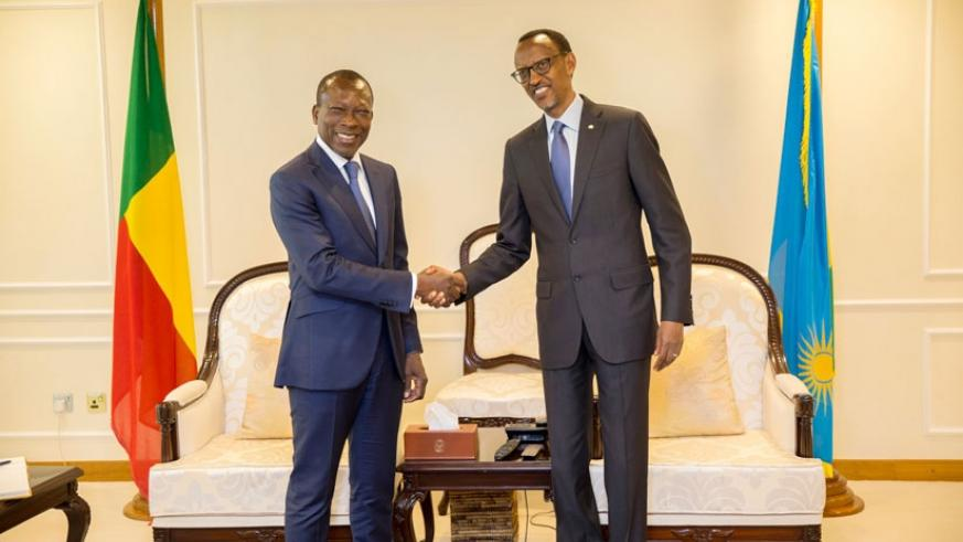 President Kagame receives President Patrice Talon of Benin at Kigali International Airport on Monday. (File)