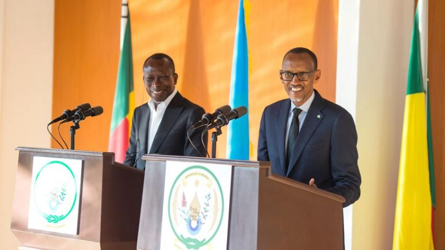 President Kagame and his Benin counterpart Patrice Talon address a joint news conference at Village Urugwiro in Kigali yesterday. (Village Urugwiro)