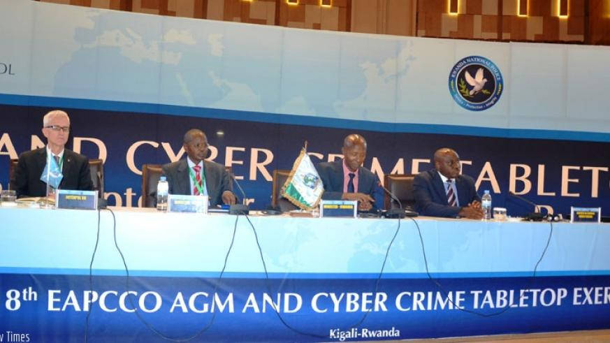 L-R: The SG of Interpol Dr Jurgen Stock, IGP of Kenya Joseph K. Boinnet, Minister Harerimana and Rwanda National Police IGP Emmanuel Gasana at the official closing of the 18th EAPC....