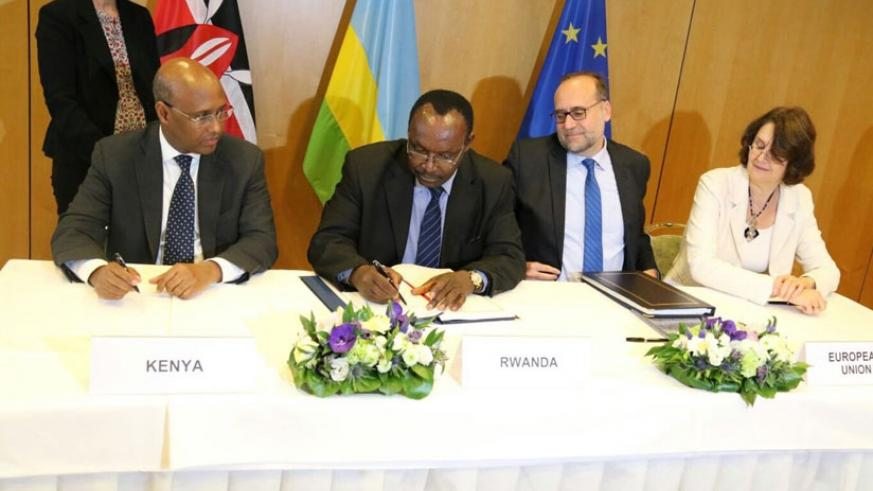 FROM LEFT: Kenya's Cabinet Secretary, Ministry of Industry and Trade Adan Mohamed; Rwanda's Minister for Trade and Industry, Francois Kanimba; Ambassador of Slovakia to EU Peter Ja....