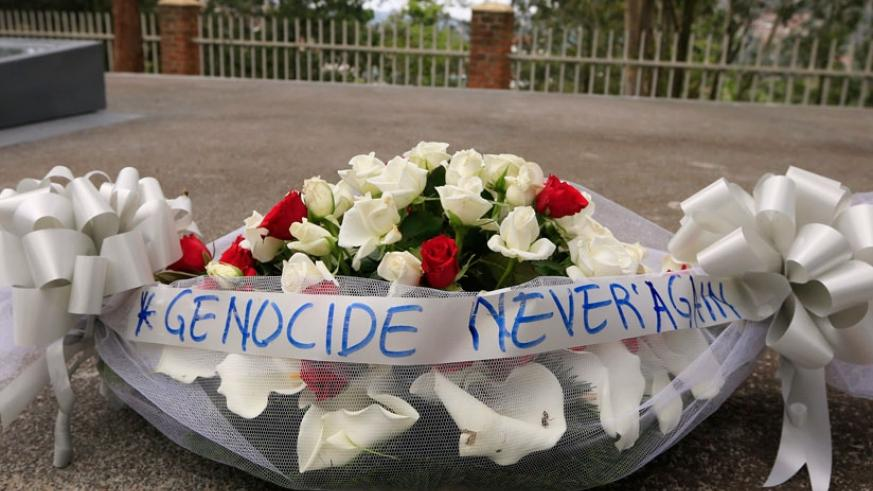 A wreath. The drive strives for 'never again'. / File.