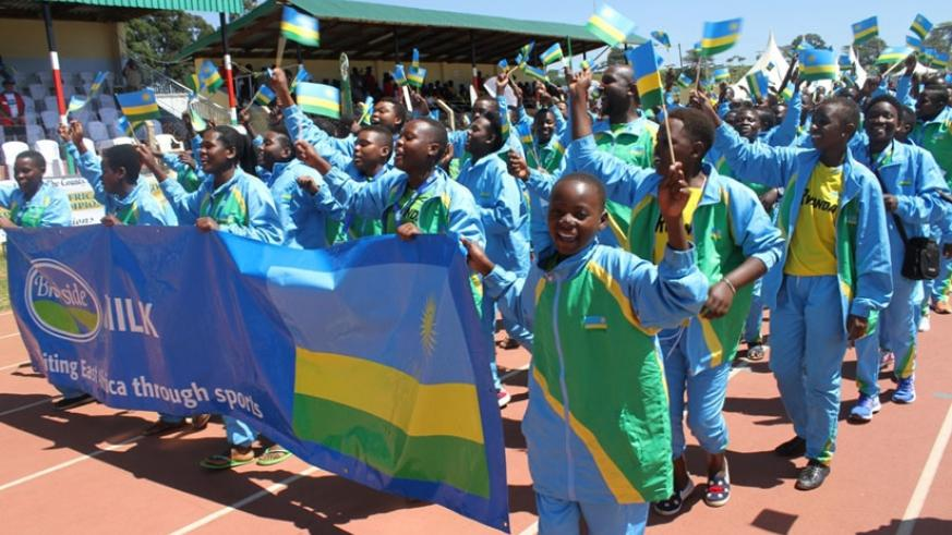 The Rwandan teams during the official opening of the 2016 FEASSA Games in Eldoret. (Courtesy)