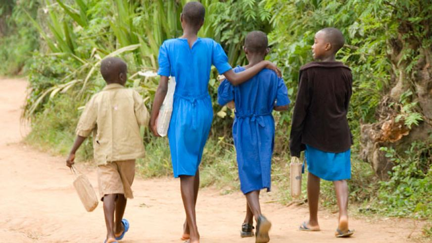Pupils walk from school. Pupils should be supervised closely so that they don't engage in bad acts. / Francis Byaruhanga.