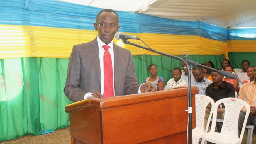 Prof. Rugege speaks during the opening of the training in Muhanga District on Monday. / Courtesy.