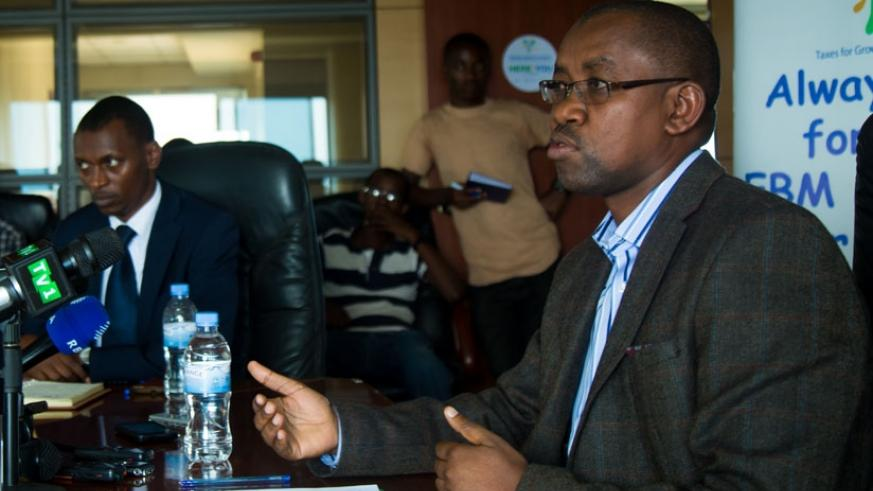 Ruganintwali speaks to journalists at the news conference in Kigali yesterday. (Photos by Timothy Kisambira)