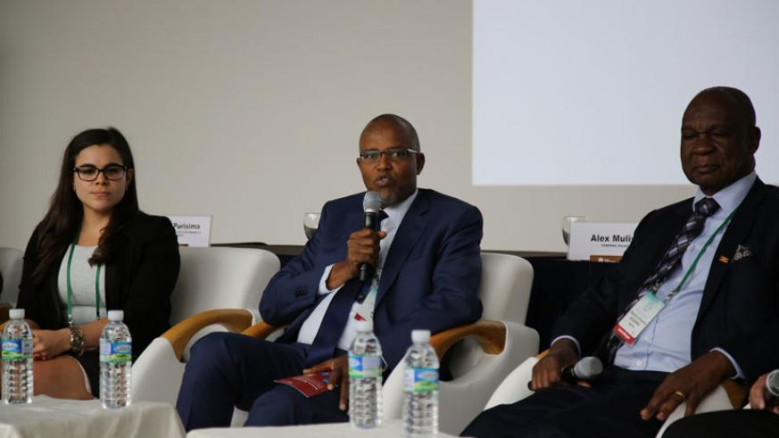 Fonerwa's Alex Mulisa (C) stresses a point during one of the sessions at the forum in Korea earlier this week. / Courtesy