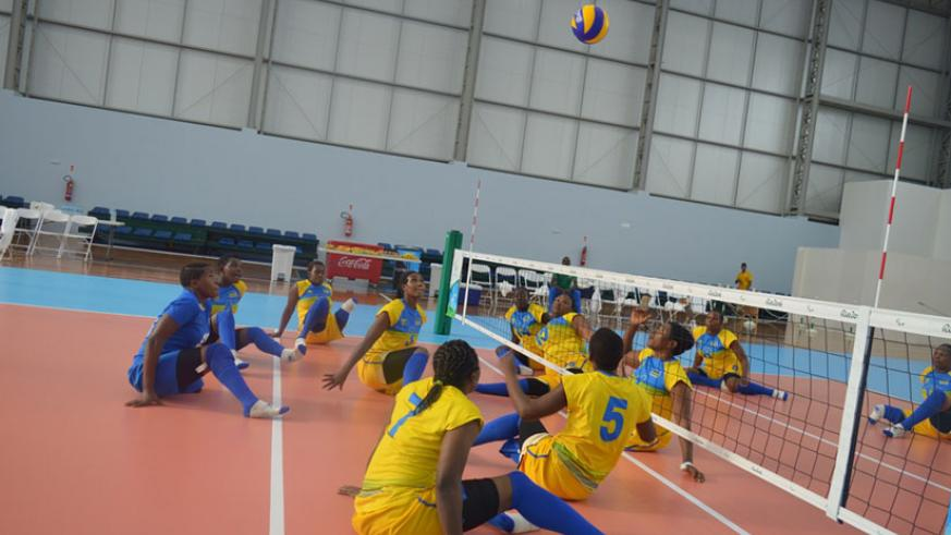 Rwanda women sitting volleyball team, pictured at Riocentro Pavillion 6 training ahead of today's game against China. / Courtesy.