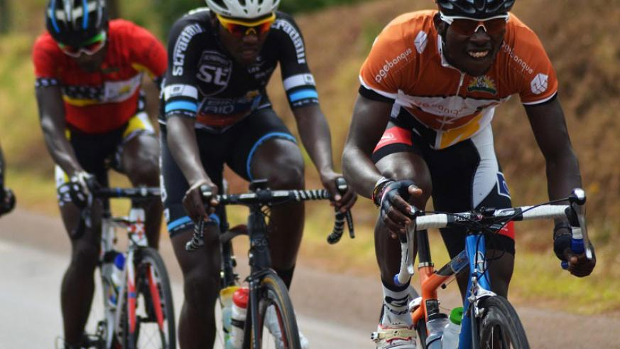 Areruya (leading) and Hadi (C) rode so well but it was Gasore Hategeka (behind) who had the last laugh in the Central Challenge race on Saturday. / Sam Ngendahimana.