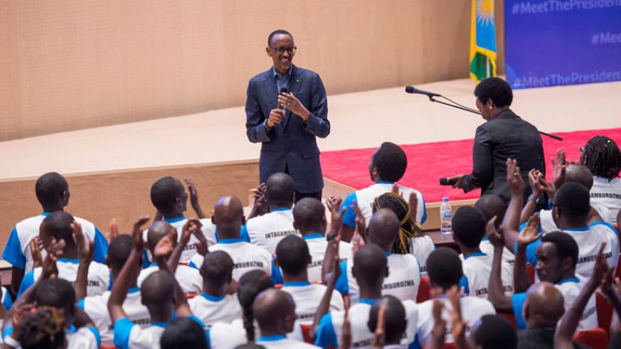 President Kagame addresses youths at the closing of Itorero Intagamburuzwa at Kigali Convention Centre yesterday. Kagame called on the youth to play their part in upholding the cul....