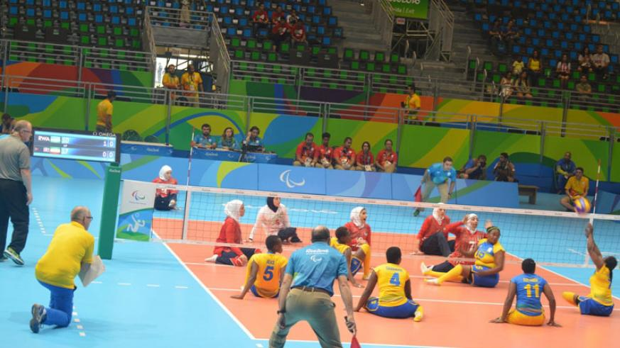 Rwanda women sitting volleyball team in action against Iran in Rio de Janeiro in Brazil on Monday. / Courtesy