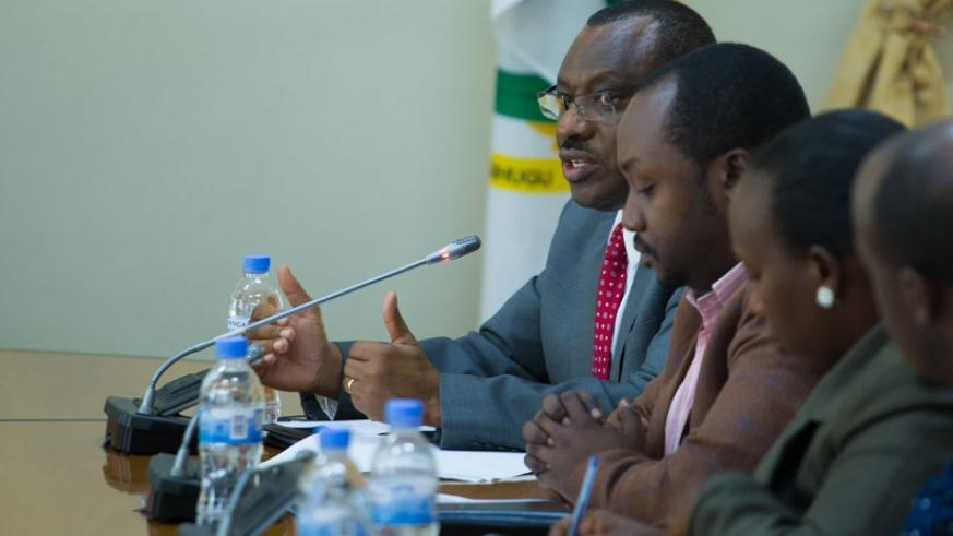 Gatete (far-left) addresses the post-Cabinet news conference yesterday. (Timothy Kisambira)