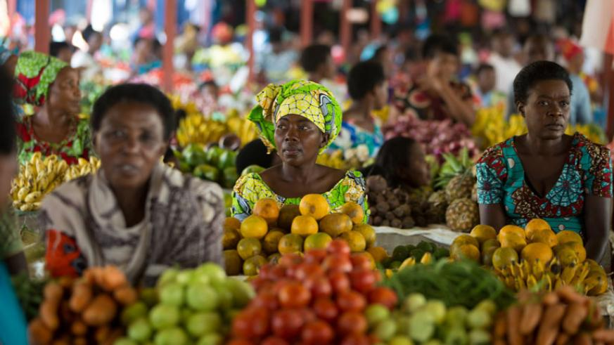 Former street vendors in a new market in Nyabugogo, Nyarugenge District. This is one of the 12 mini markets constructed in the three districts of Kigali with an aim of eliminating ....