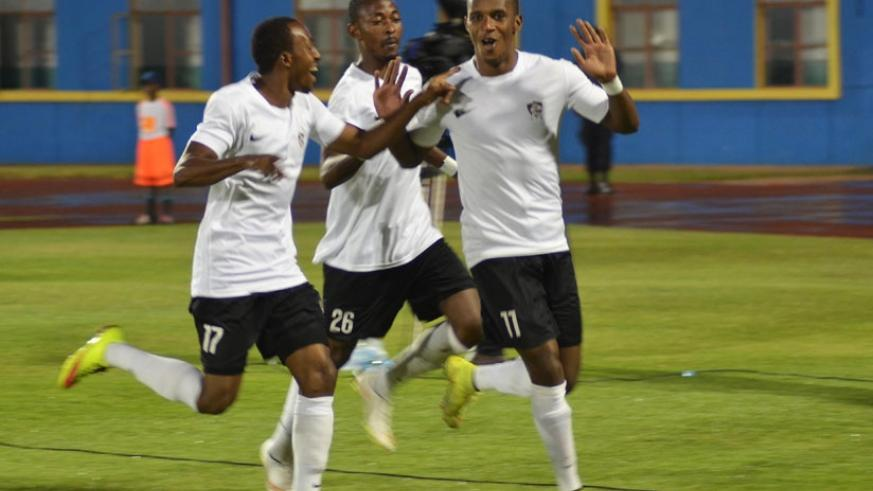 Sibomana is joined by his teammates to celebrate his first goal that came on the 8th minute.  APR won the tie 3-0 to set up a clash with DR Congo's AS Vita Club in the final. (All ....