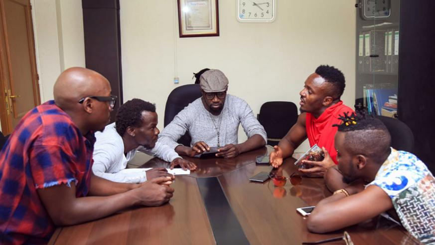 Sauti Sol crew talk to The New Times journalist Moses Opobo about their love for Rwanda. / Courtesy