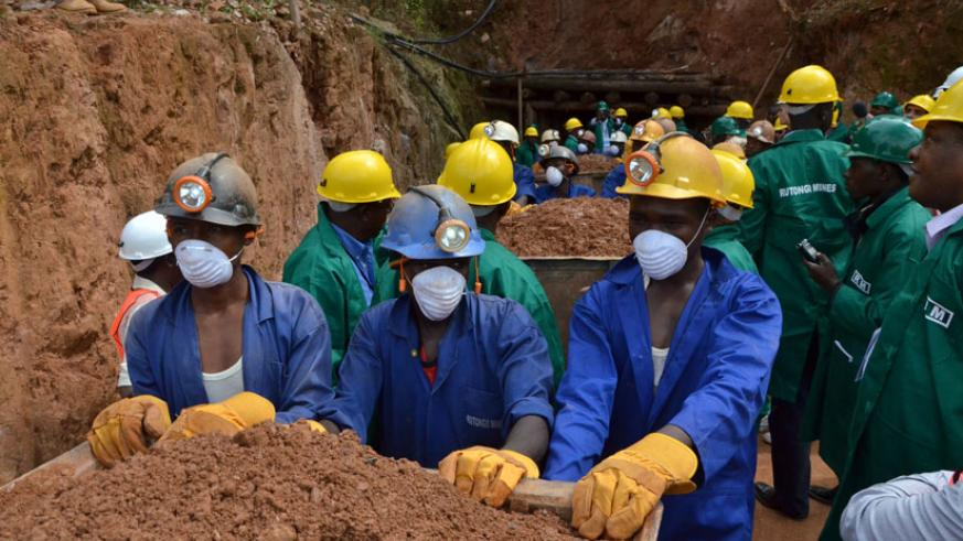 Miners at Rutongo Mines in Rulindo District. Last week, the Cabinet approved a mechanism to share revenue from mining so as to support the development of communities living near mi....