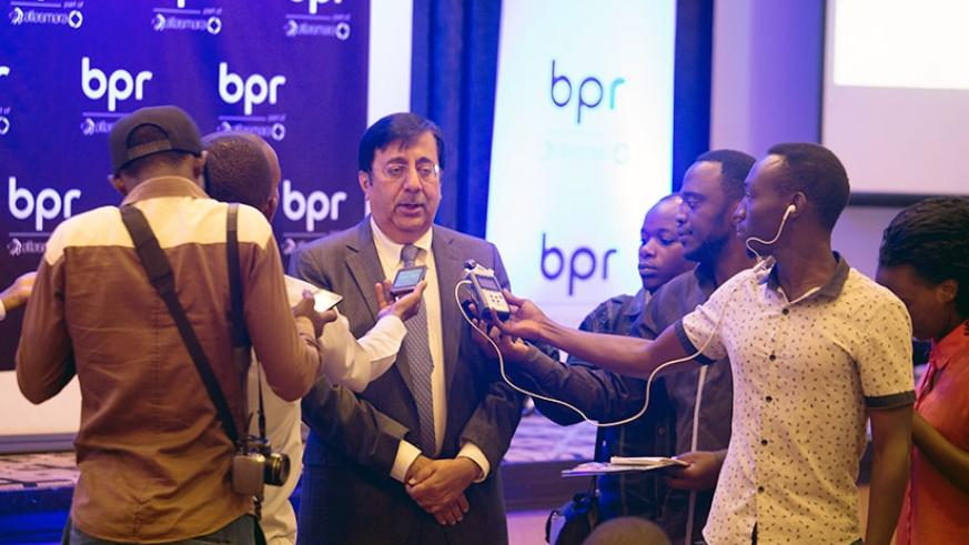 Sanjeev Anand the CEO of BPR Bank speaks to the media after the meeting last week. / Timothy Kisambira.