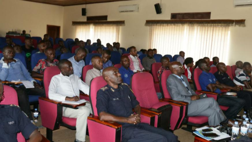 Participants at the closure of meeting of district coordinators of the Rwanda Youth Volunteers in Community Policing and District Community Liaison Officers at the Rwanda National ....