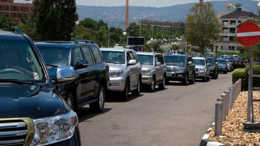 Some of the cars used by envoys and ministers await clearance to Parliament Buildings in Kigali. (T. Kisambira)