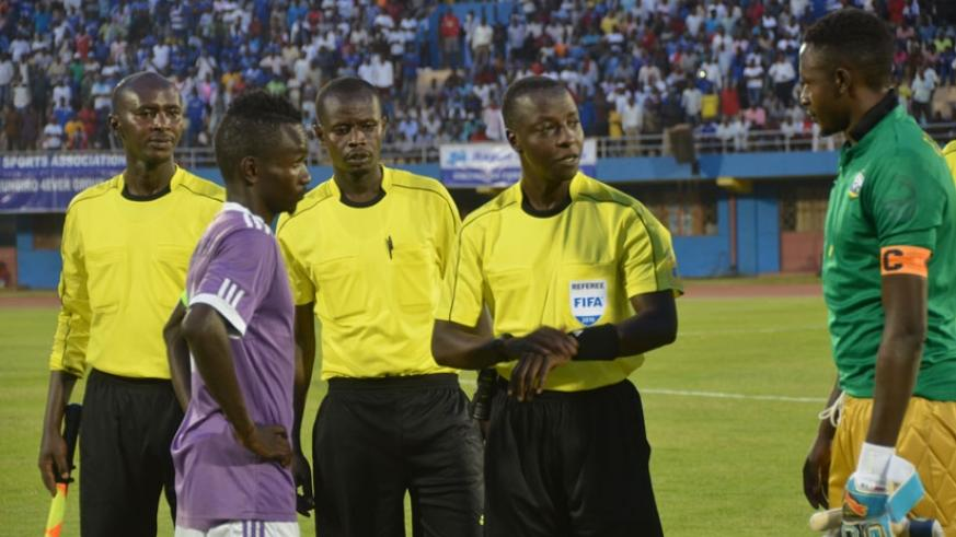 Munyemana (C) before officiating the pre-season match between Rayon Sports and Sunrise FC. Rwanda's top ref has announced his retirment at the age of 42. (Nadege Imbabazi)