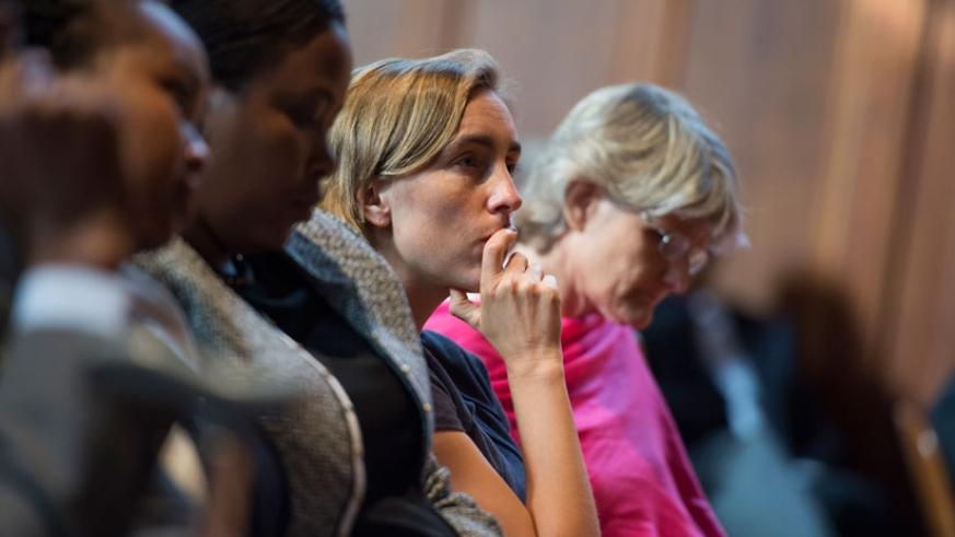 Students listen to the lecture at Yale University, US, on Tuesday. (Courtesy)