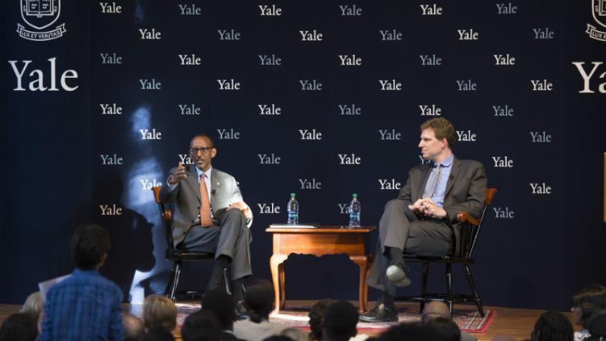 President Kagame interacts with Yale University students during the Coca Cola World Fund Lecture on Tuesday, during which he addressed the skewed relationship between the West, on ....