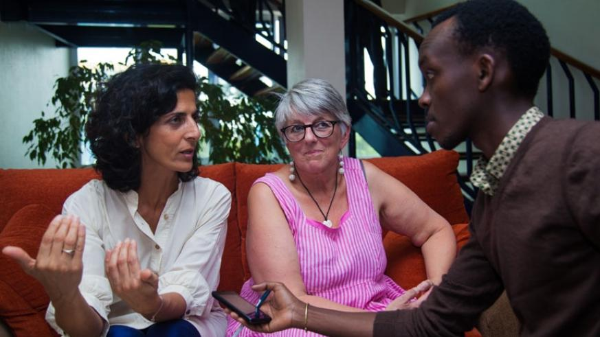Marie Arena (L) and Julie Ward (C) European Parliamentarians during the interview. (Nadege Imbabazi)