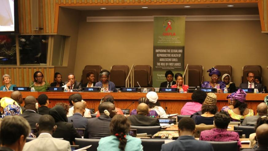 The First Lady,  Jeannette Kagame (2nd left, background), at the OAFLA high-level meeting on improving adolescent girls sexual and reproductive health in  New York on Wednesday. (Courtesy)