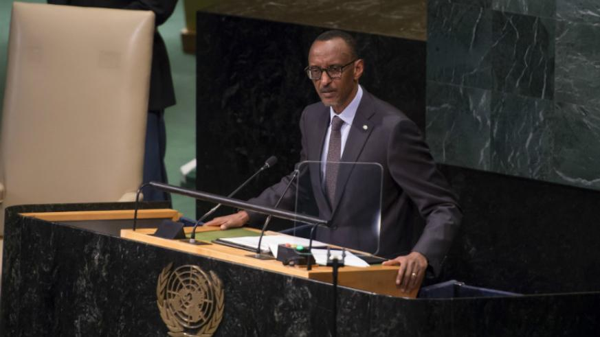 President Kagame addresses the UN General Assembly in New York on Thursday. / Village Urugwiro.