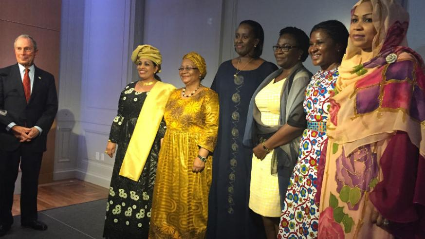 (FROM LEFT) Founder of Bloomberg Philanthropies, Michael Bloomberg, stands next to the First Ladies, Dr Malika Issoufou Mahamadou of Niger, Mrs Aminata Maiga Keita of Mali, Mrs Jea....