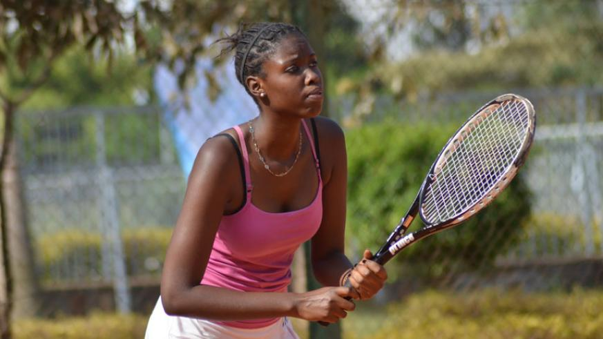 Gisele Umumararungu lost to Kenya's Shufa Changawa in the quarter-finals of the ongoing 2016 Rwanda Tennis Open on Thursday. / Sam Ngendahimana