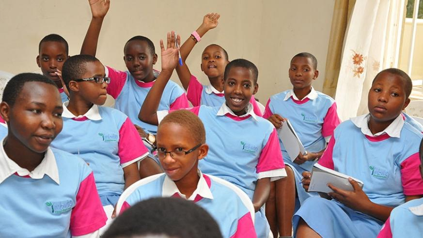 A group of schoolgirls in a recent workshop organised by Imbuto Foundation. / File.