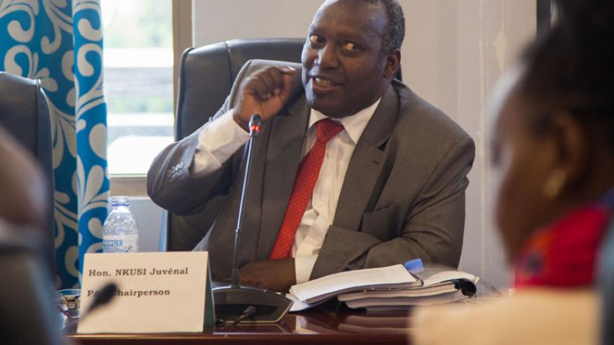 MP Juvenal Nkusi, the PAC Chairperson, speaks during the appearance of RBC officials before the committee earlier in the day. / Nadege Imbabazi.