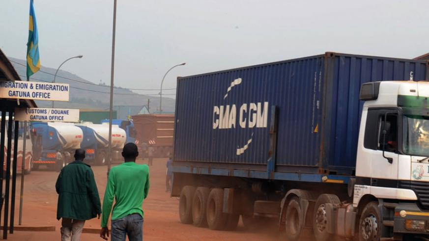 Cargo trucks at Gatuna border post. The new tracking system will also prevent the practice of cargo loss. (File)